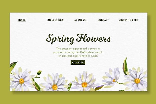 Aquarel bestemmingspagina sjabloon voor de lente met bloemen