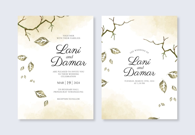 Aquarel bladeren en minimalistische spatten voor een prachtige bruiloft uitnodiging sjabloon