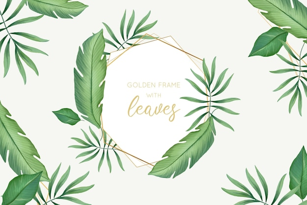 Aquarel bladeren met gouden frame