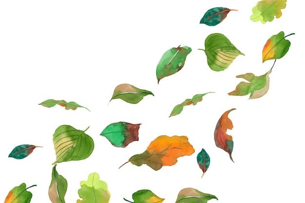 Aquarel bladeren vallen