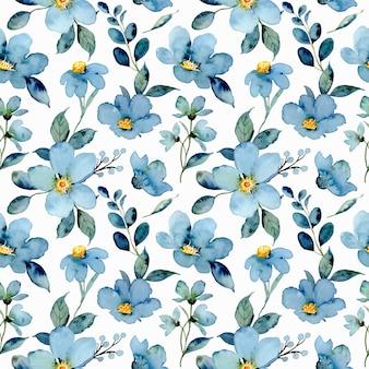 Aquarel blauw groen bloemen naadloos patroon