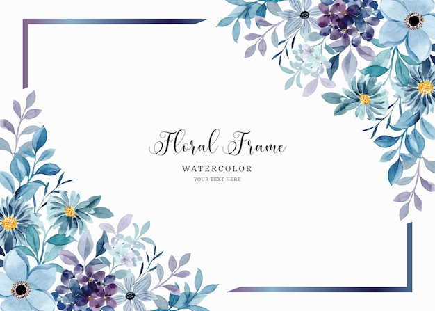 Aquarel blauw paars bloemen frame achtergrond