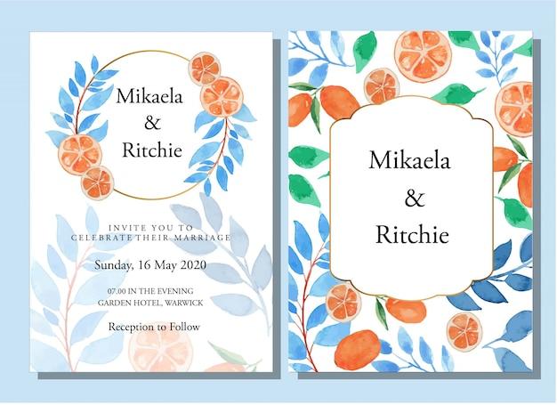 Aquarel blauwe bladeren en sinaasappels bloemen bruiloft uitnodiging sjabloon