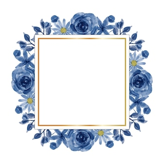 Aquarel blauwe bloem frame achtergrond