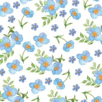 Aquarel blauwe bloem naadloze patroon