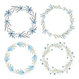 Aquarel blauwe bloemen krans cirkel kaderset