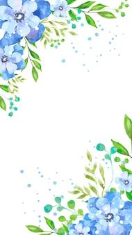 Aquarel blauwe bloemen mobiel behang