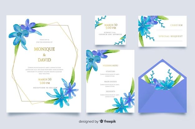 Aquarel blauwe bruiloft briefpapier sjabloon