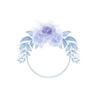 Aquarel blauwe lente kleurrijke bloemen frame