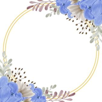 Aquarel blauwe pioenroos bloem frame met gouden cirkel