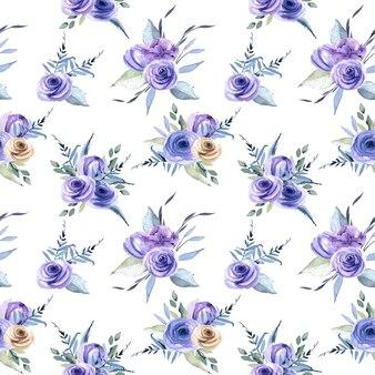 Aquarel blauwe rozen boeketten naadloze patroon