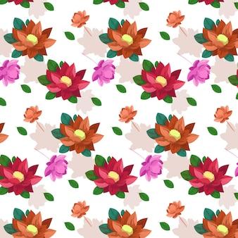 Aquarel bloeiende bloemen met bladeren