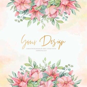 Aquarel bloeiende bloemen uitnodigingskaart