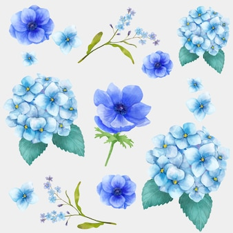 Aquarel bloeiende bloemen