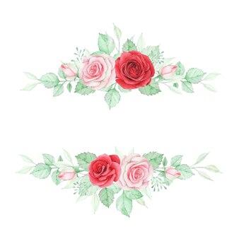 Aquarel bloem banner met rode en roze roos