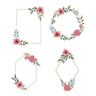 Aquarel bloem bruiloft frames