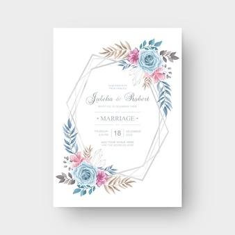 Aquarel bloem bruiloft uitnodiging kaartsjabloon