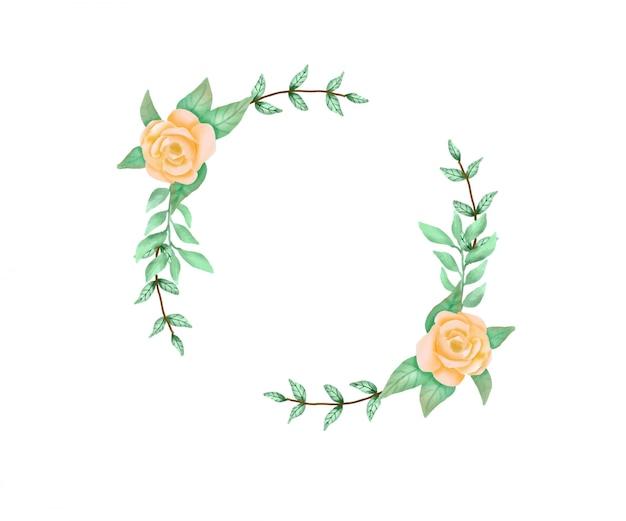 Aquarel bloem cirkelframe