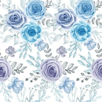 Aquarel bloem en bladeren blauw naadloos patroon
