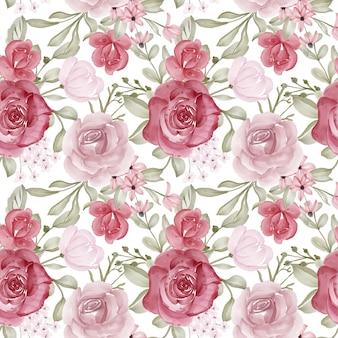 Aquarel bloem en bladeren naadloos patroon