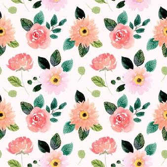 Aquarel bloem naadloze patroon