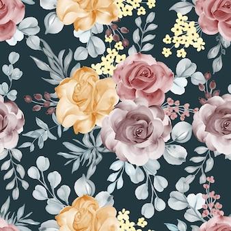 Aquarel bloem roos oranje kastanjebruin en laat naadloos patroon