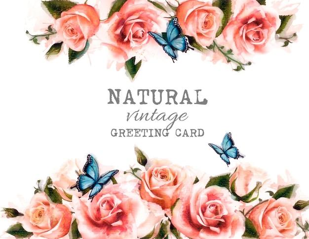 Aquarel bloem vintage achtergrond met mooie rozen en vlindersñž vector