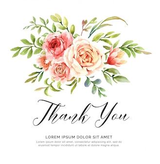 Aquarel bloemboeket bedankkaart.