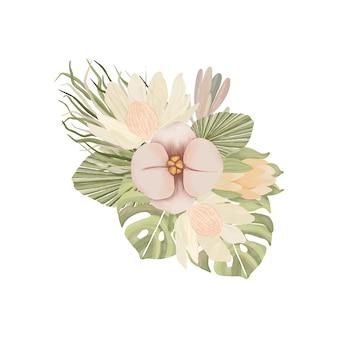 Aquarel bloemboeket in boho-stijl