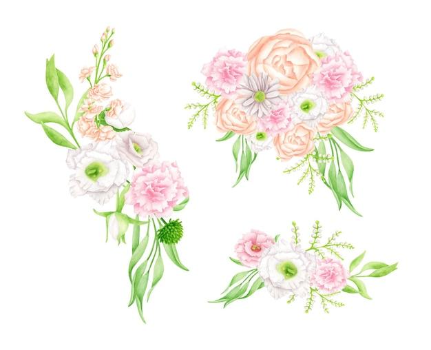 Aquarel bloemboeketten set. handgetekende elegante bloemstukken