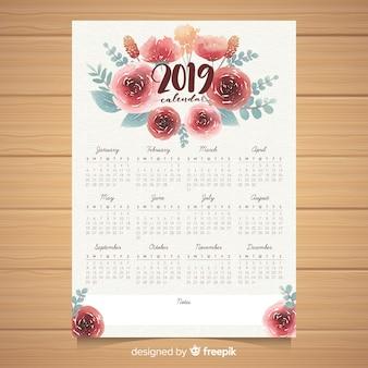 Aquarel bloemen 2019 kalendersjabloon