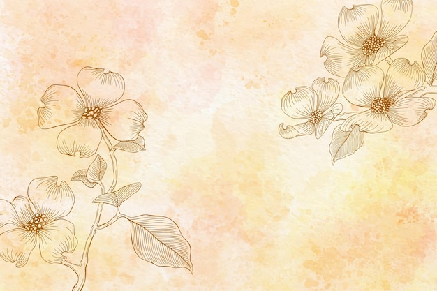 Aquarel bloemen achtergrond in zwart-wit