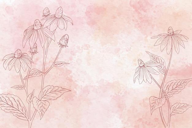Aquarel bloemen achtergrond in zwart-wit Gratis Vector