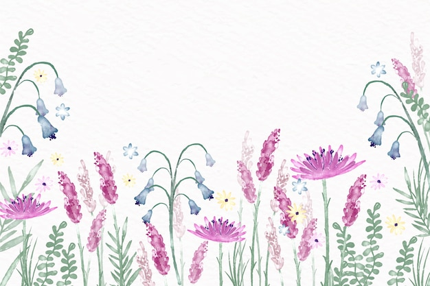 Aquarel bloemen behang in pastel kleuren thema