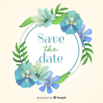 Aquarel bloemen bewaar de datum