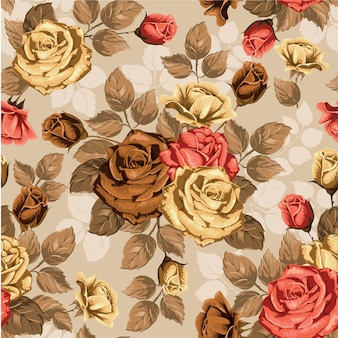Aquarel bloemen bladeren naadloze patroon achtergrond