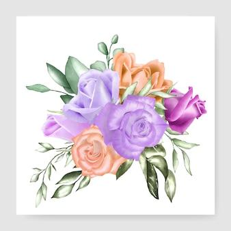Aquarel bloemen boeket bruiloft kaartsjabloon