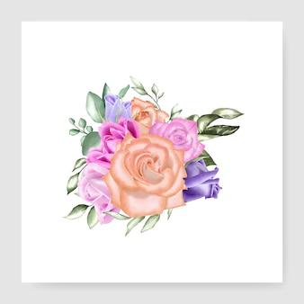 Aquarel bloemen boeket bruiloft sjabloon
