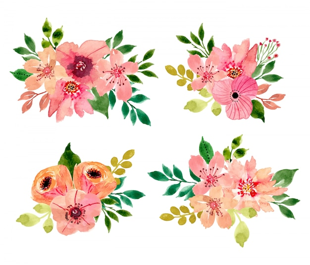 Aquarel bloemen boeket collectie