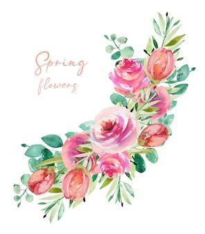 Aquarel bloemen boeket van heldere roze rozen groene bladeren en takken handgeschilderde geïsoleerde illustratie