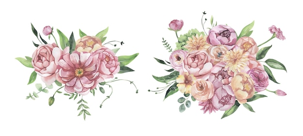 Aquarel bloemen boeketten.