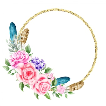 Aquarel bloemen boho krans illustratie bruiloft