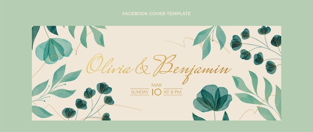 Aquarel bloemen bruiloft facebook cover