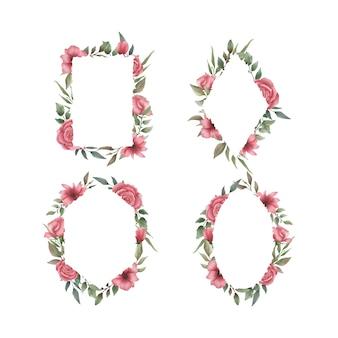 Aquarel bloemen bruiloft frames-collectie