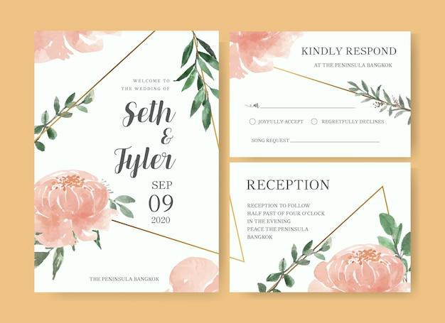 Aquarel bloemen bruiloft kaartsjabloon
