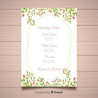 Aquarel bloemen bruiloft menusjabloon