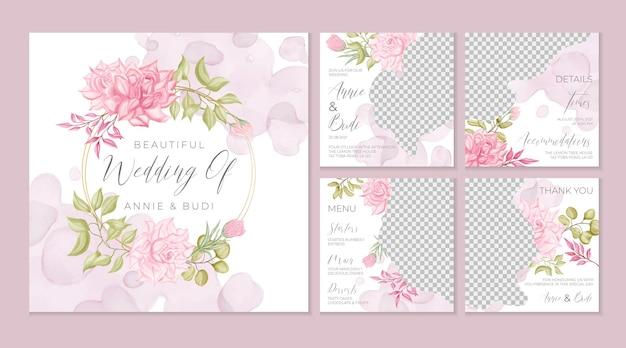 Aquarel bloemen bruiloft sociale media sjabloon set
