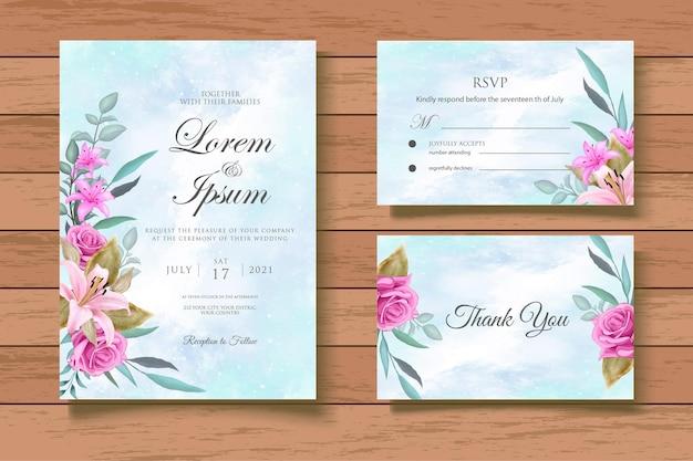 Aquarel bloemen bruiloft uitnodiging cad set sjabloon