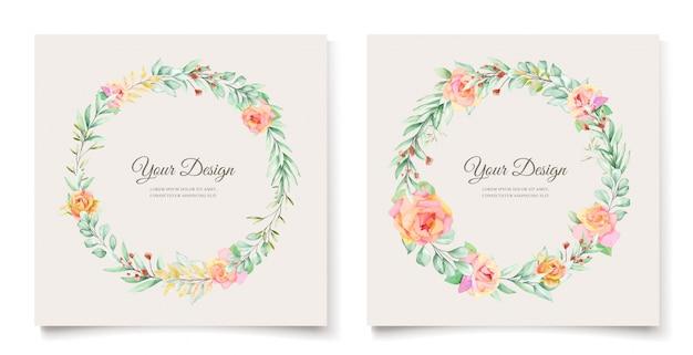 Aquarel bloemen bruiloft uitnodiging kaart ontwerp