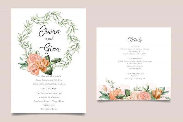 Aquarel bloemen bruiloft uitnodiging kaartsjablonen